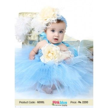 Sky Blue First Birthday Flower Short Tutu Outfits For Baby Girls With Crochet Bodice Flower Girl Dresses Tutu Baby Girl Tutu Crochet Tutu Dress