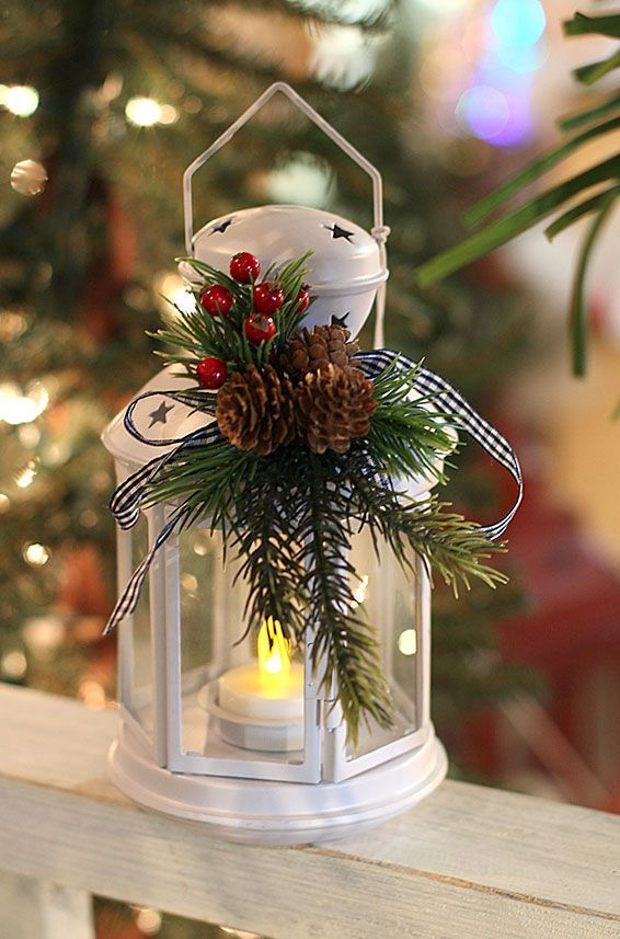 Inexpensive Holiday Decorating Ideas Part - 24: 8 Inch Black Metal Christmas Lantern With Holiday Decor And Tea Light. Love  The Black And Red Used Together. They Will Add A Bold Point Of Color Tou2026