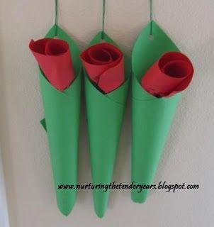 Preschool Crafts for Kids*: Mother's Day Hanging Paper Roses in Vase Craft