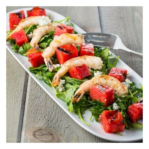Grilled Watermelon and Shrimp Salad foodgawker ❤ liked on Polyvore featuring food and drink