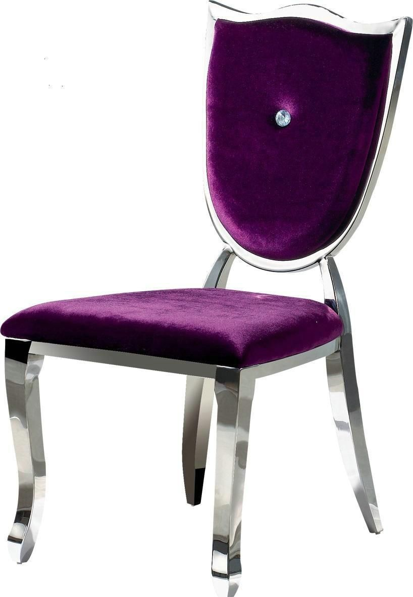 Marvellous dining room chair with purple velvet thickly