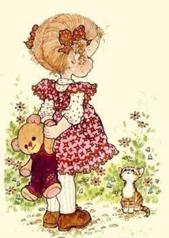 Картинки рисованные девочка с мишкой