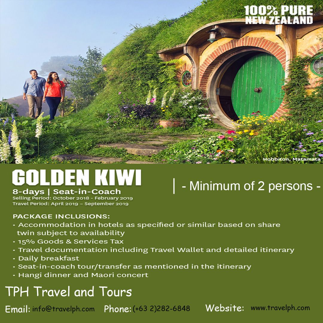 8 DAYS KIWI TOUR minimum of 2 persons to travel For more