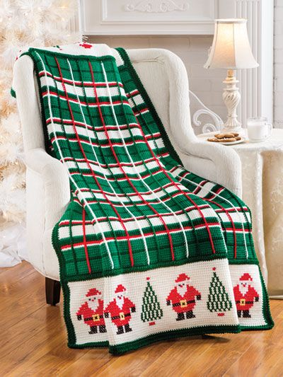 Santa Plaid Afghan crochet pattern from Annie\'s Craft Store. Order ...