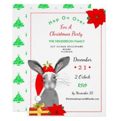 Whimsy Christmas Bunny Rabbit Invite - christmas cards merry xmas
