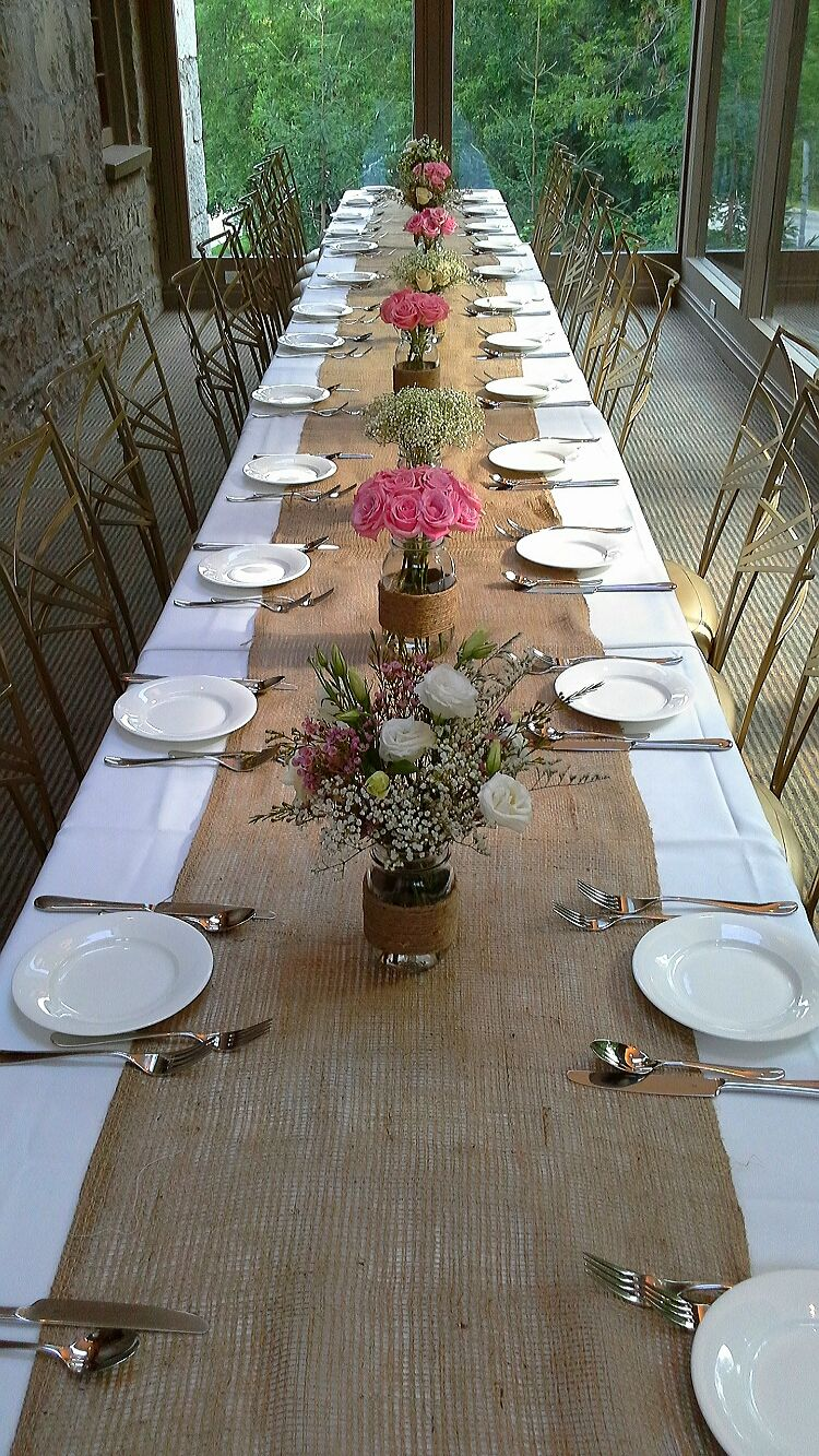 Rustic centerpieces and burlap table runner for mabels wedding rustic centerpieces and burlap table runner for mabels wedding august 3 2014 solarium room ancaster old mill ancaster on design by davis floral junglespirit Gallery