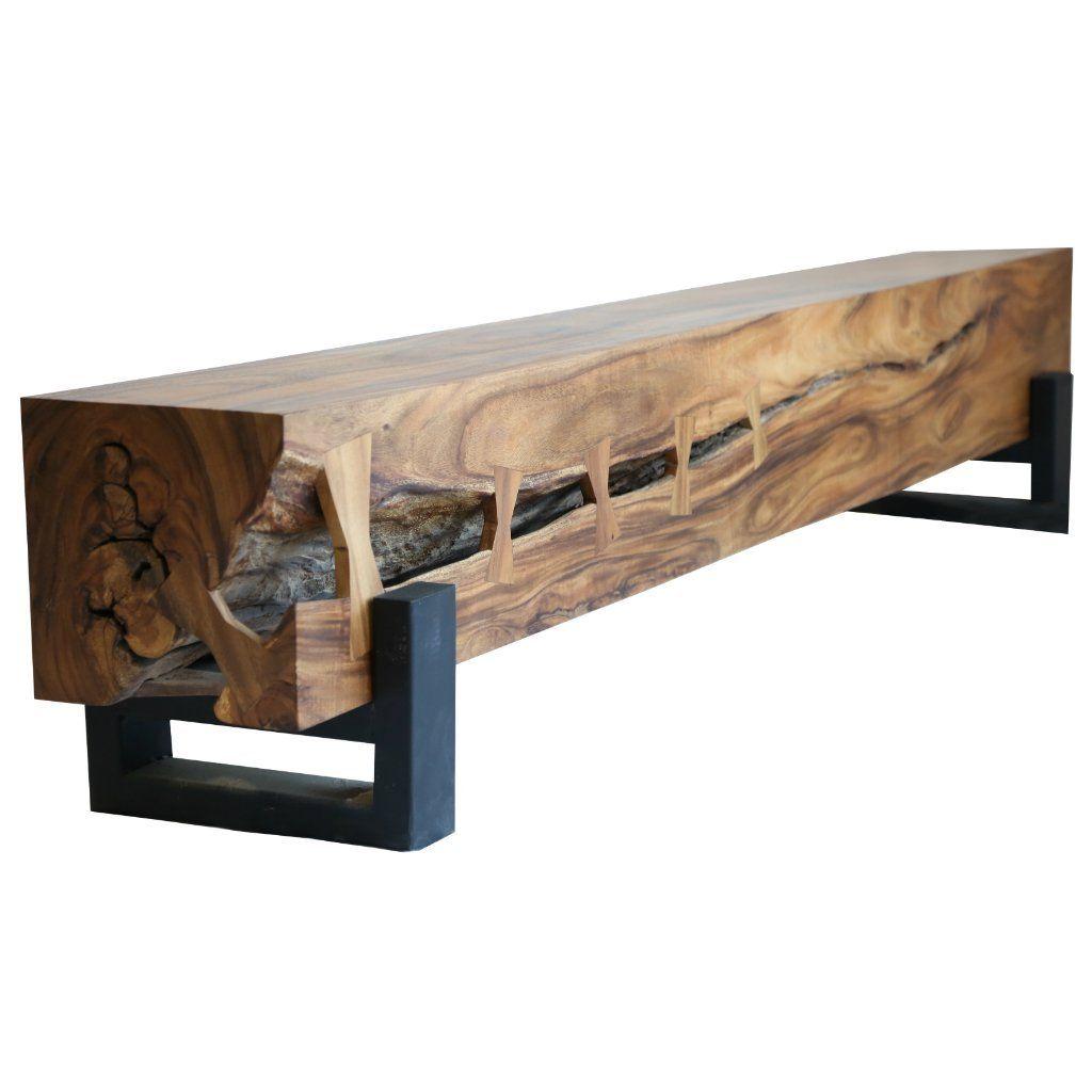 Acacia wood block bench with metal legs