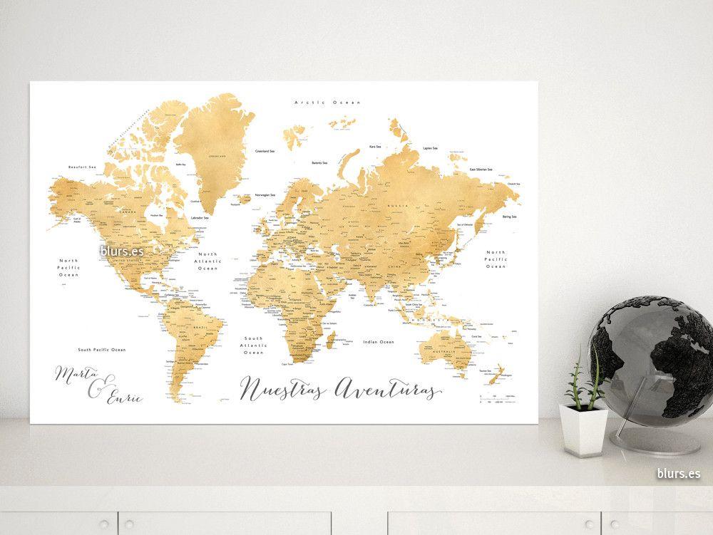 Rossie mapamundi personalizado para marcar viajes efecto dorado explore worldmap maps and more gumiabroncs Images
