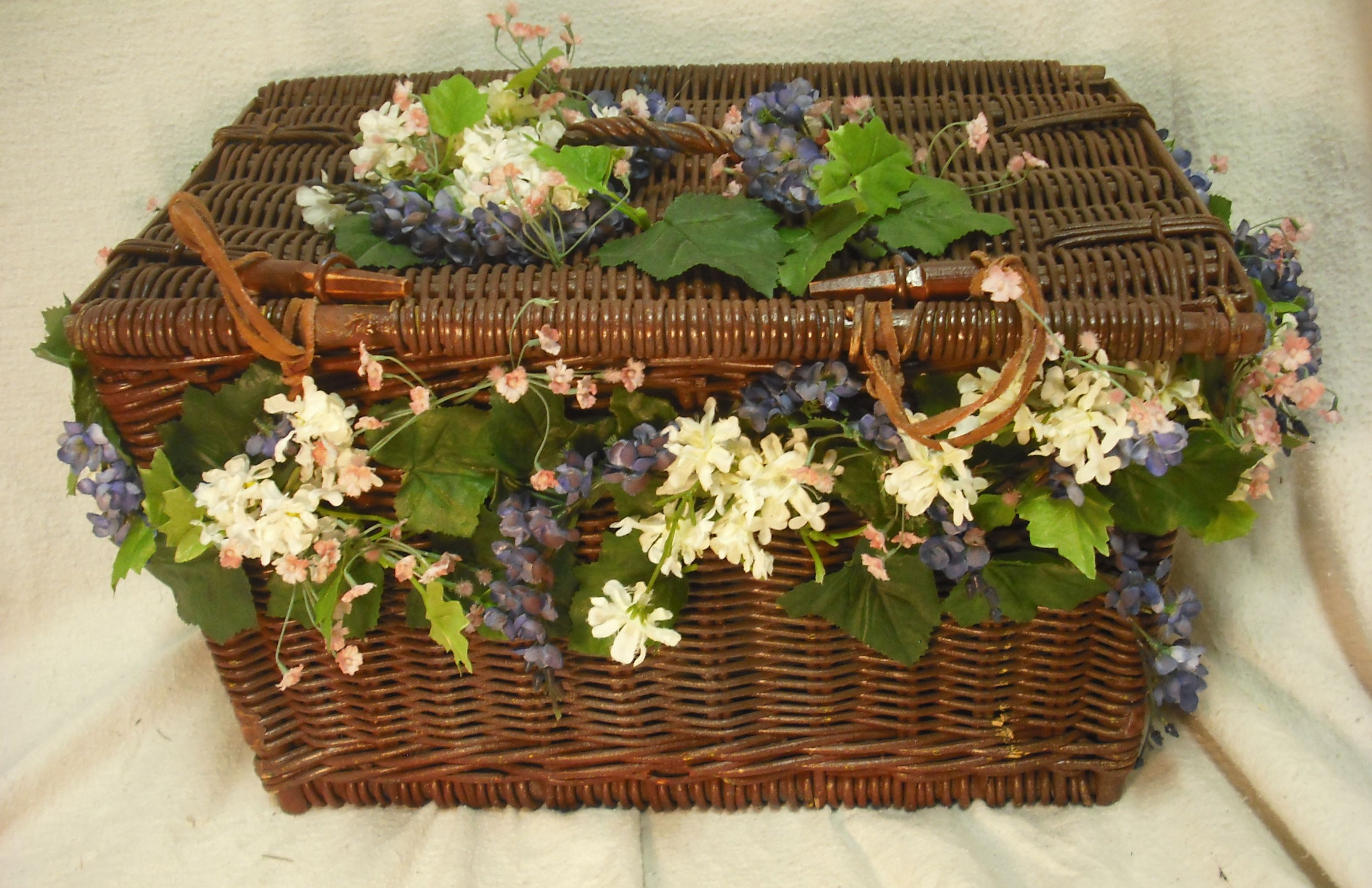 Flowered Picnic Basket