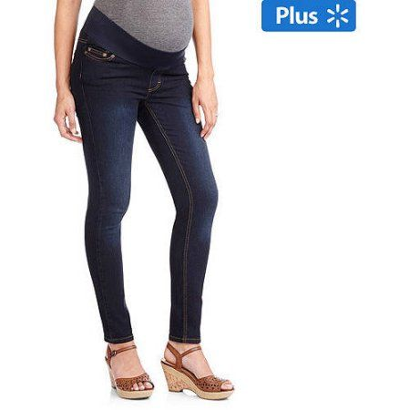 6081ee26172c1 Oh! Mamma Maternity Plus-Size Demi-Panel Basic Super Soft Skinny Jeans, Size:  1XL