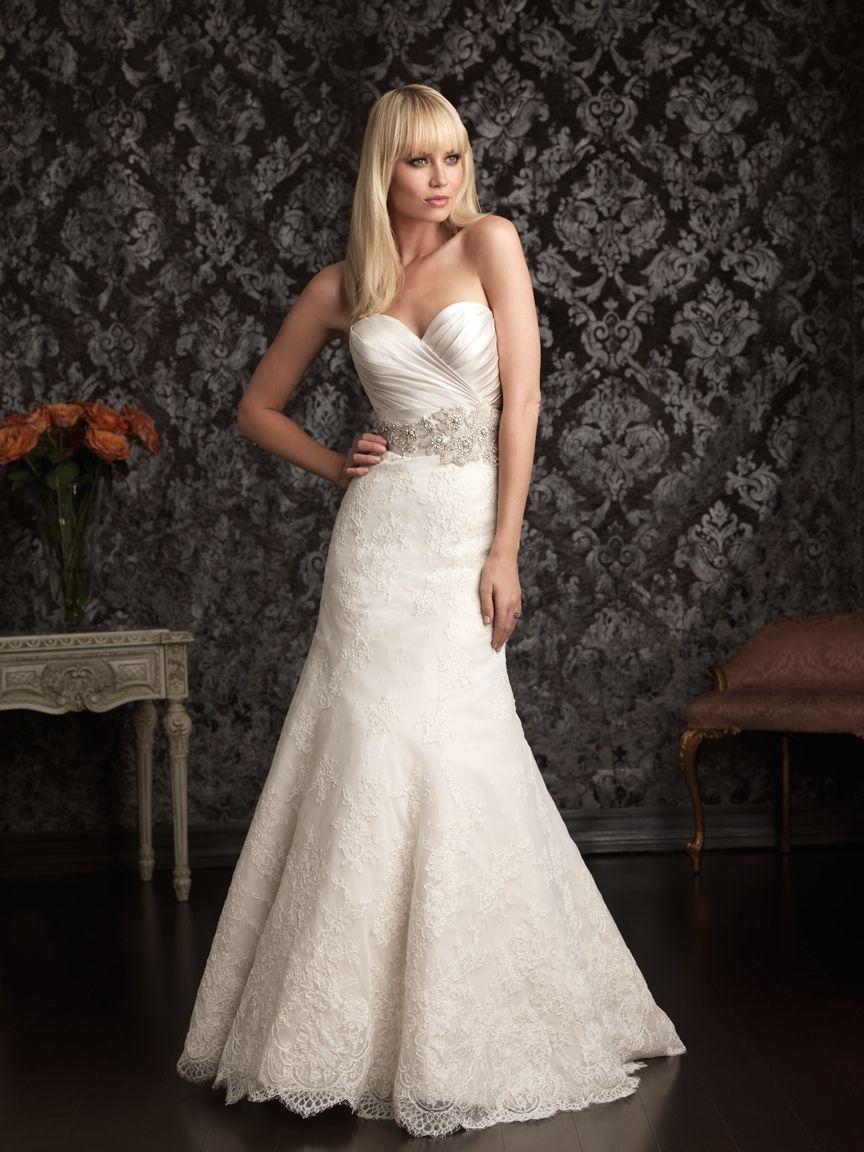 Slim fit wedding dresses  Allure Bridals  Fit u Flare Lace Wedding Dre  Wedding Ideas