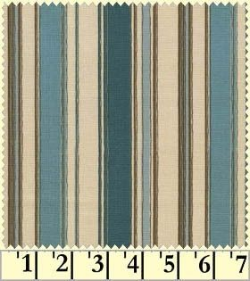 Back Porch Bouquet by Maywood Studios Blue and Brown Cotton Stripe Fabric 1 Yard.. $3.00, via Etsy.