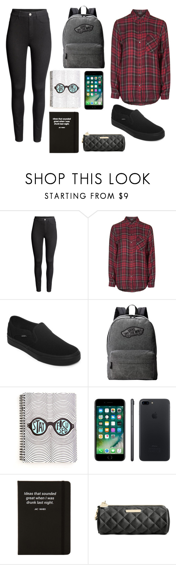 """School #20"" by marvel1 ❤ liked on Polyvore featuring H&M, Topshop, Vans, Apple, Jac Vanek and Betsey Johnson"