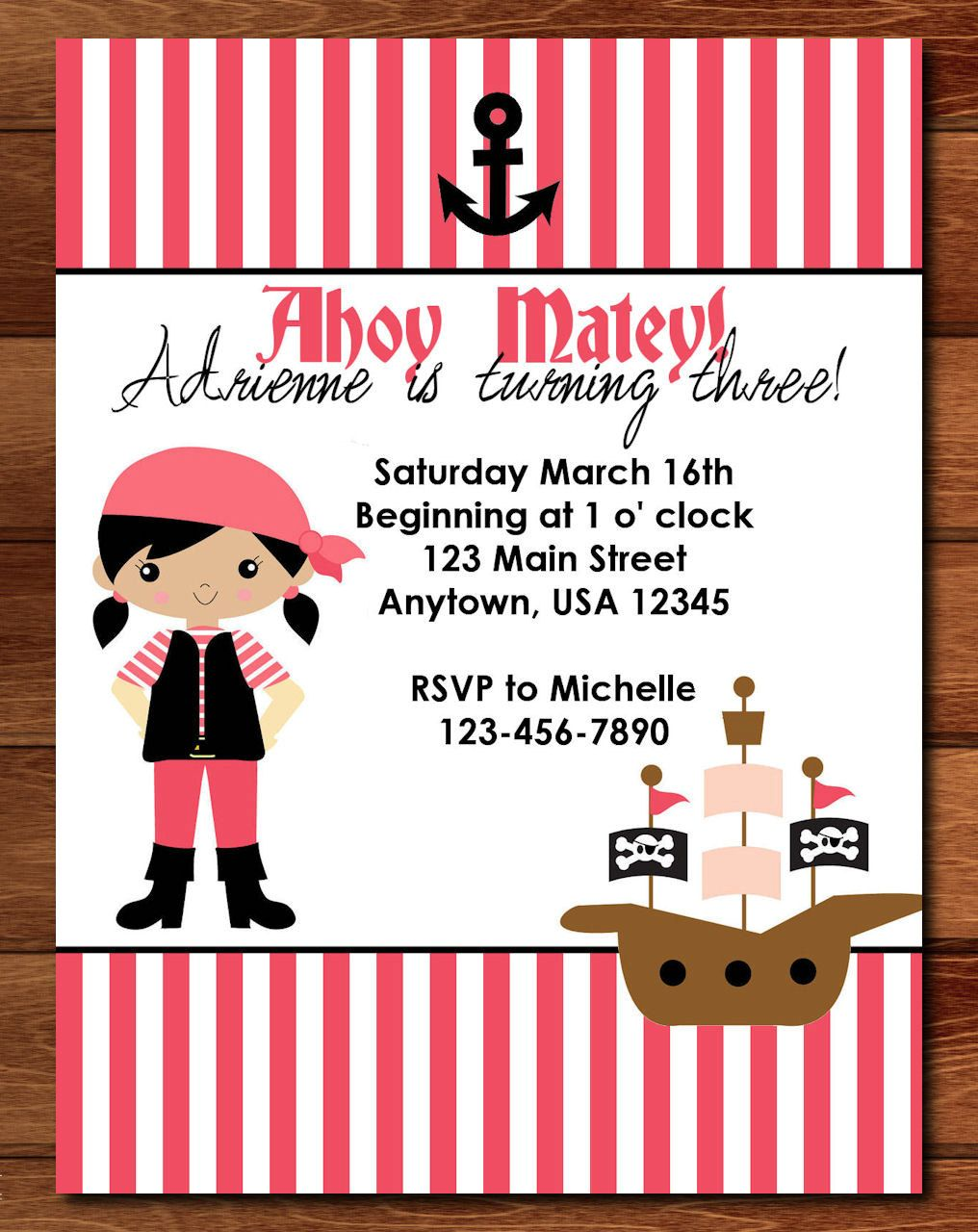 Pirate Girl Birthday Invitation - Pink & White. $5.00, via Etsy ...