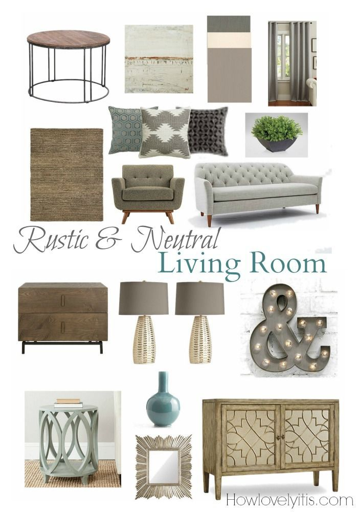 Rustic neutral living room mood board mood boards Rustic modern living room design