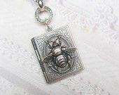 Silver  Bee Locket Necklace - Silver Queen Bee - Jewelry by BirdzNbeez. $24.00, via Etsy.