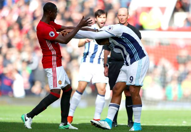 Eric Bailly of Manchester United and Jose Salomon Rondon of West Bromwich Albion clash during the Premier League match between Manchester United and...
