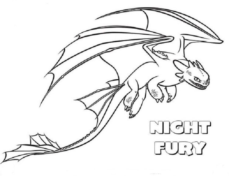 Night Fury Dragons Coloring Pages Coloriage Dragon Furie