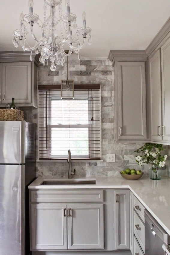 Classic Traditional Gray Gold and Marble Kitchen Renovation - Diamond Cabinets - DIY ...
