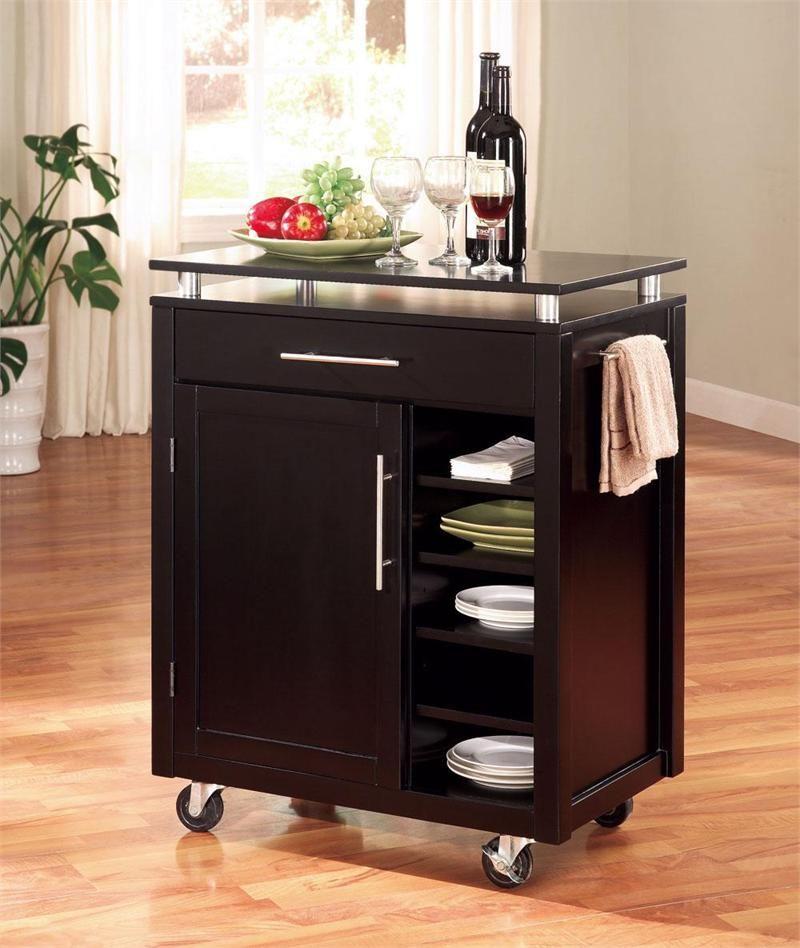 Black Kitchen Island Work Cart