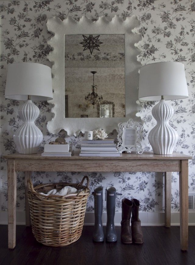 Distressed wood console table...