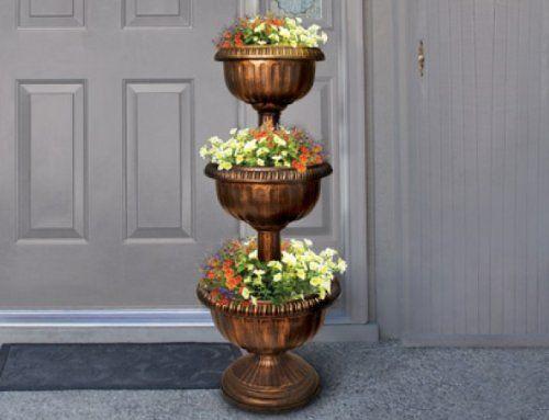 Bronze Copper Color Multi Level 3 Tier Planter Outdoor Patio Yard Garden Porch Stacked Flower Bowl Urn Decoration Gardenline Tiered Planter Flower Urn Planters