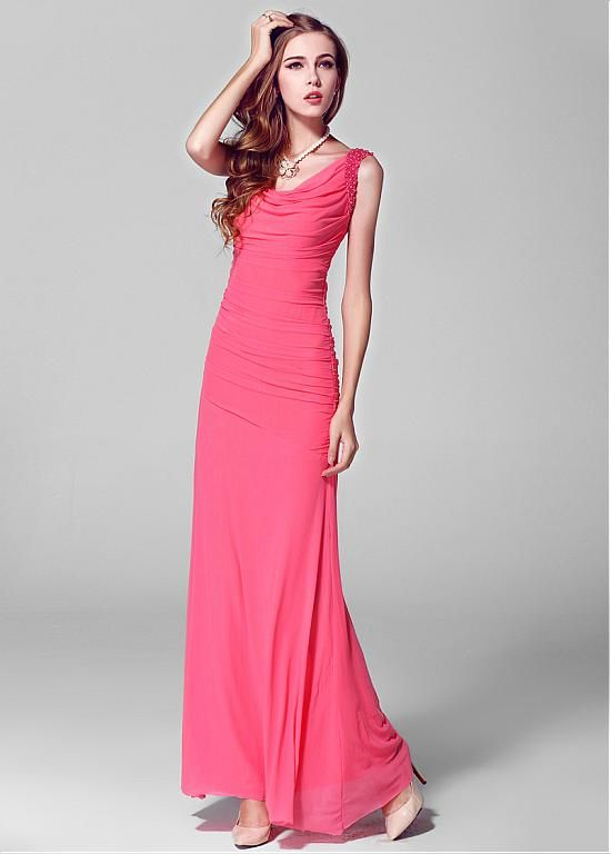 In Stock Charming Mesh Cowl Neckline Ankle Length Sheath Prom Dress