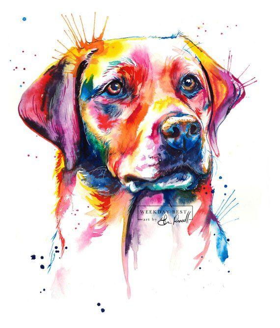 Photo of Colorful English Laboratory, Labrador Retriever Art Print – Print of my Original Watercolor (Free Shipping)
