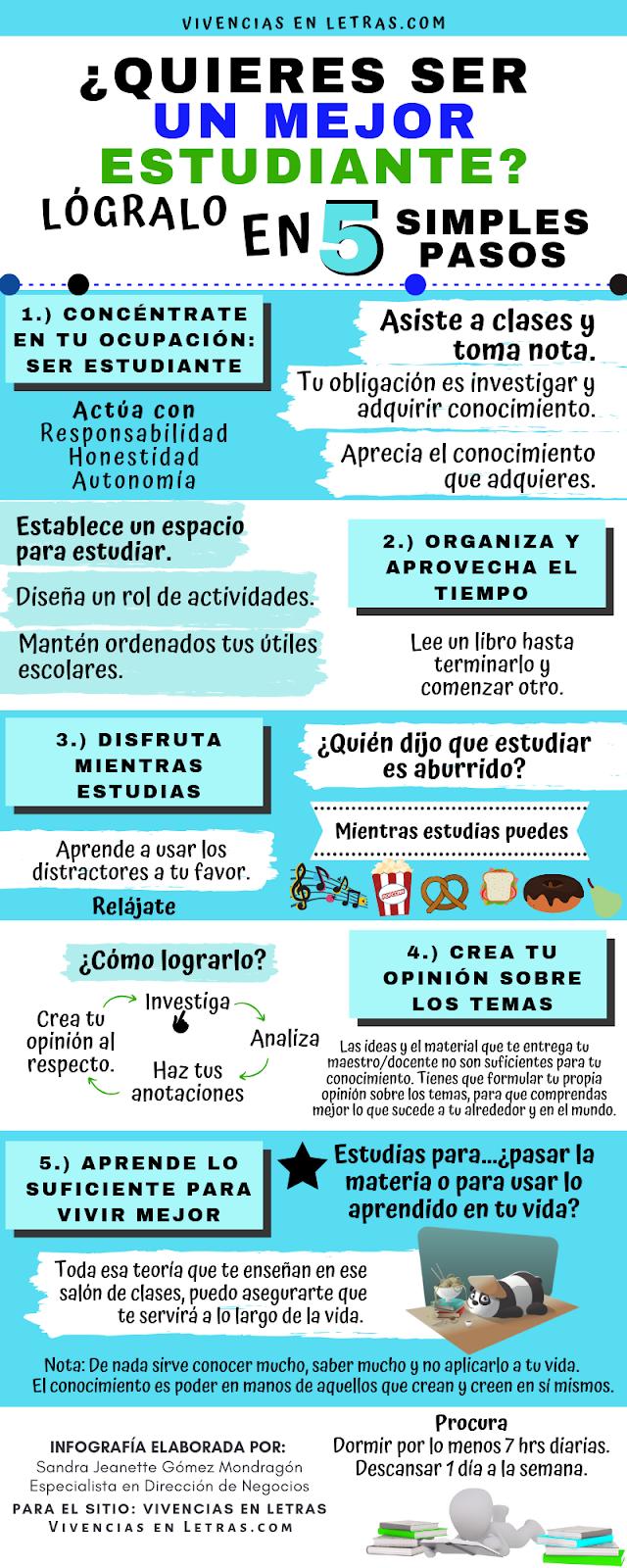 Infografía: Cómo ser mejor estudiante en 5 pasos