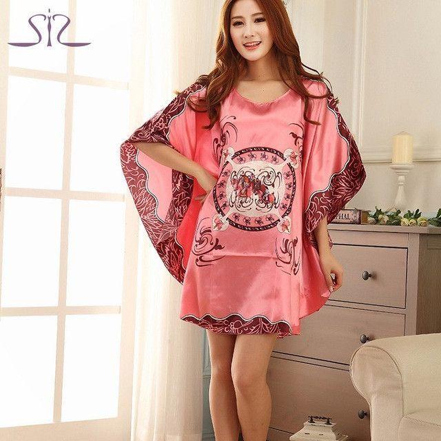 Plus Size Silk Lady Sleepwear Dressing Gown Female Plus Size