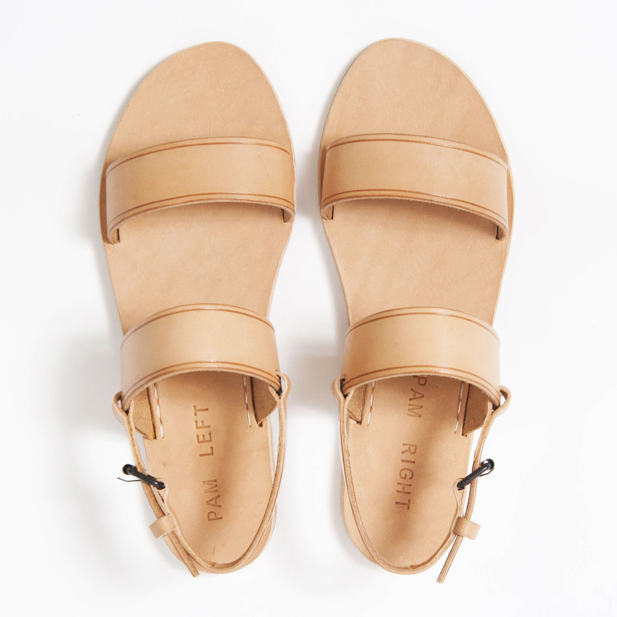 e8677176f24a1 The PAM LEFT PAM RIGHT classic two strap sandal in natural nude vegetable  tan leather upper