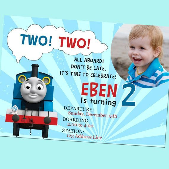 Example thomas the train birthday invitations photo design that you thomas the train second birthday invitation with photo printable thomas the tank engine thomas and friends by goodhue designs filmwisefo