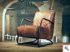 Industriele fauteuil gemaakt van 100% handgewassen ongecorrigeerd