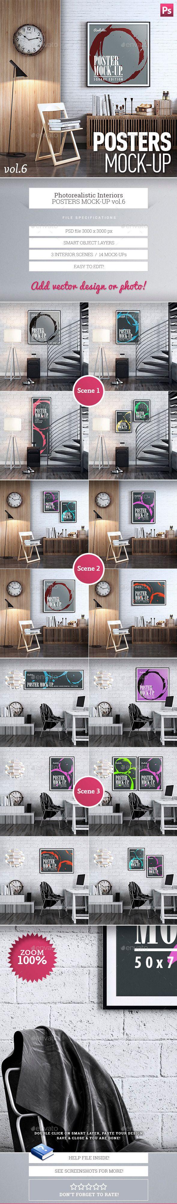 6 poster design photo mockups - Posters Mock Up Vol 6