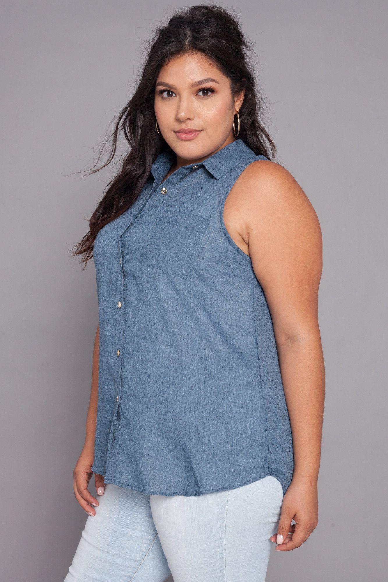 Plus Size Textured Button Shirt   Blue