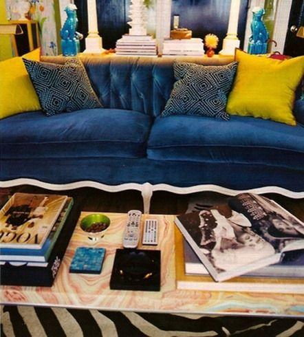 Navy Velvet Sofas Yellow Cushions In 2020 Blue Velvet Couch Blue Velvet Sofa Blue Rooms