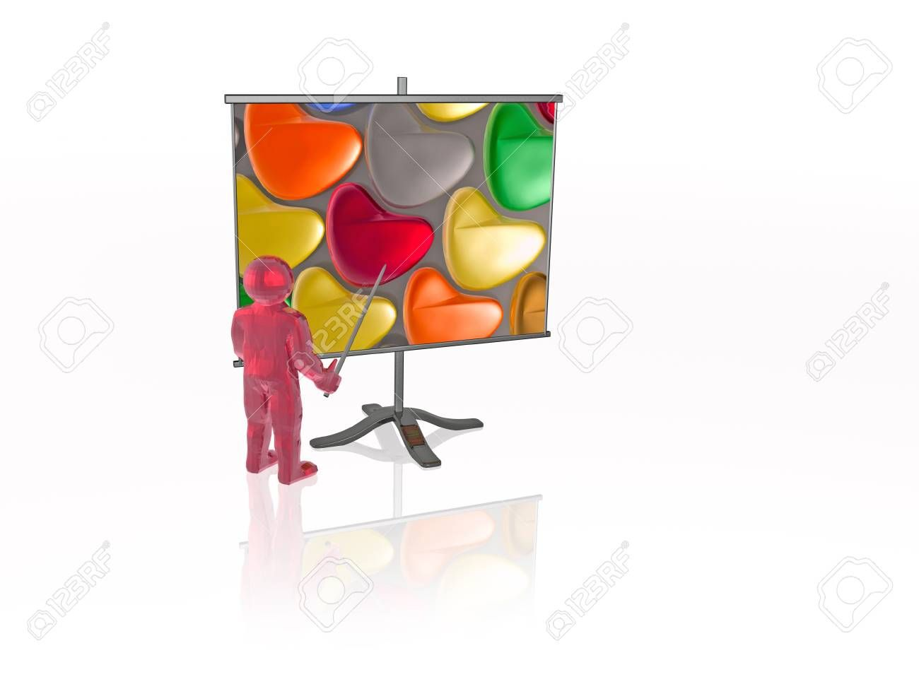 Man with presentation stand white background 3D illustration
