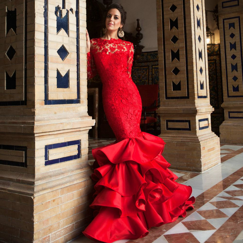 Popular Elegant O Neck Long Sleeve Prom Dresses Red Lace-Buy Cheap ...