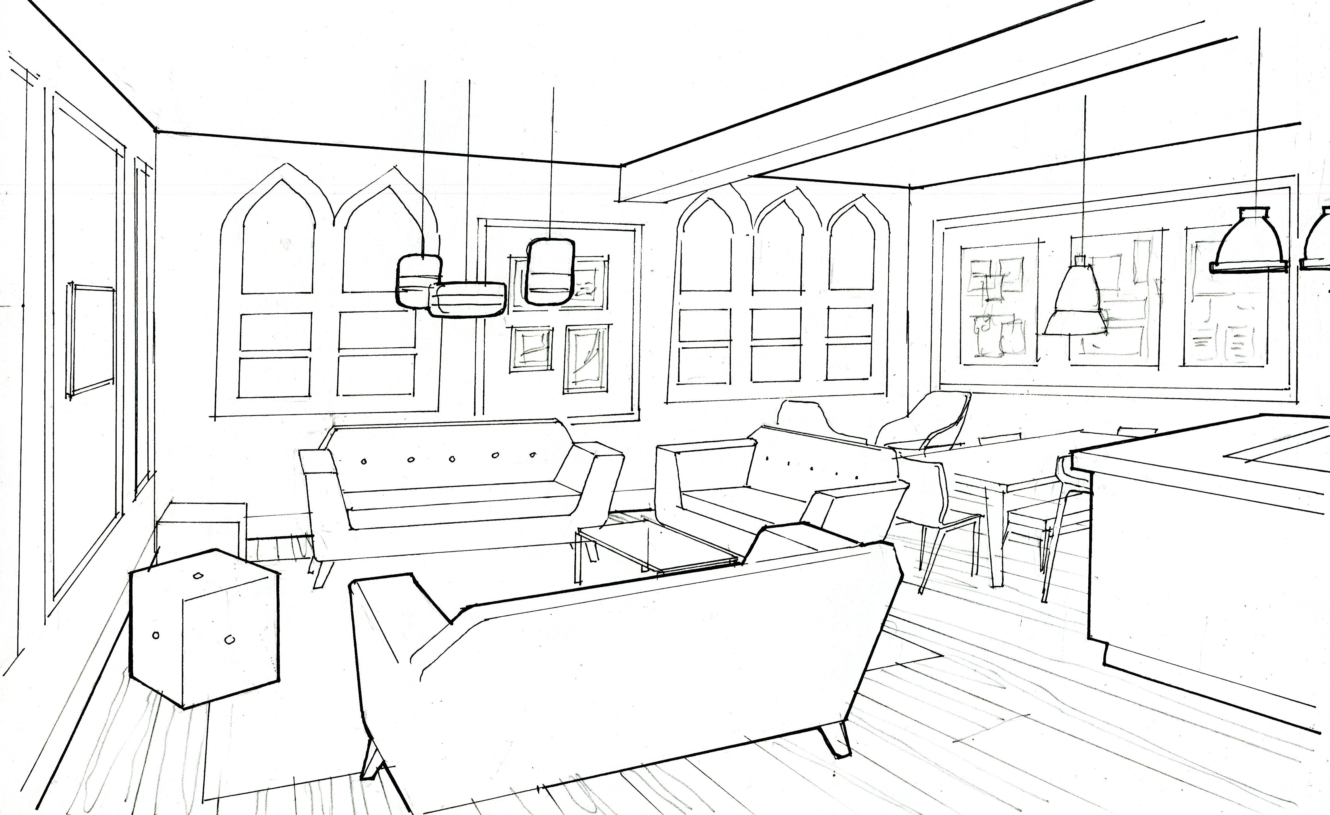 design drawing of the common area of a boarding house boarding rh pinterest ca