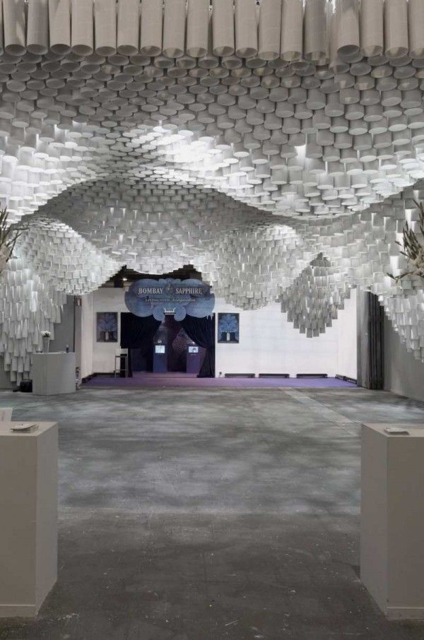 Beautiful Ceiling Installation Made Of Paper Tube Paper