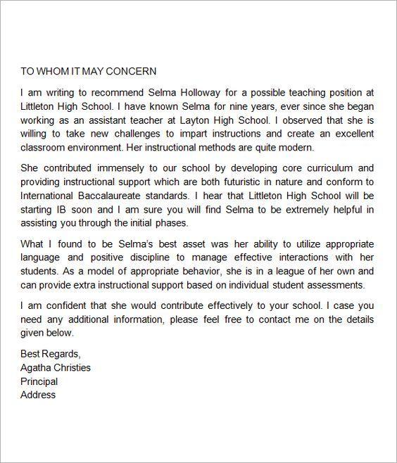 sample letter of recommendation for school teacher