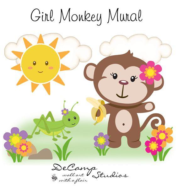 4 Cute Monkeys Wall Decals Sticker Nursery Decor Mural: Girl Monkey Wall Mural Art Decal For Baby Jungle Nursery