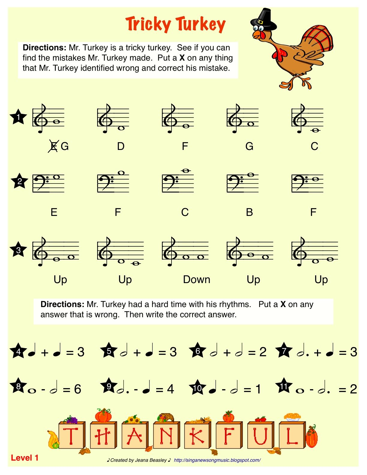 Sing A New Song Tricky Turkey Worksheet For Elementary Music Education Class