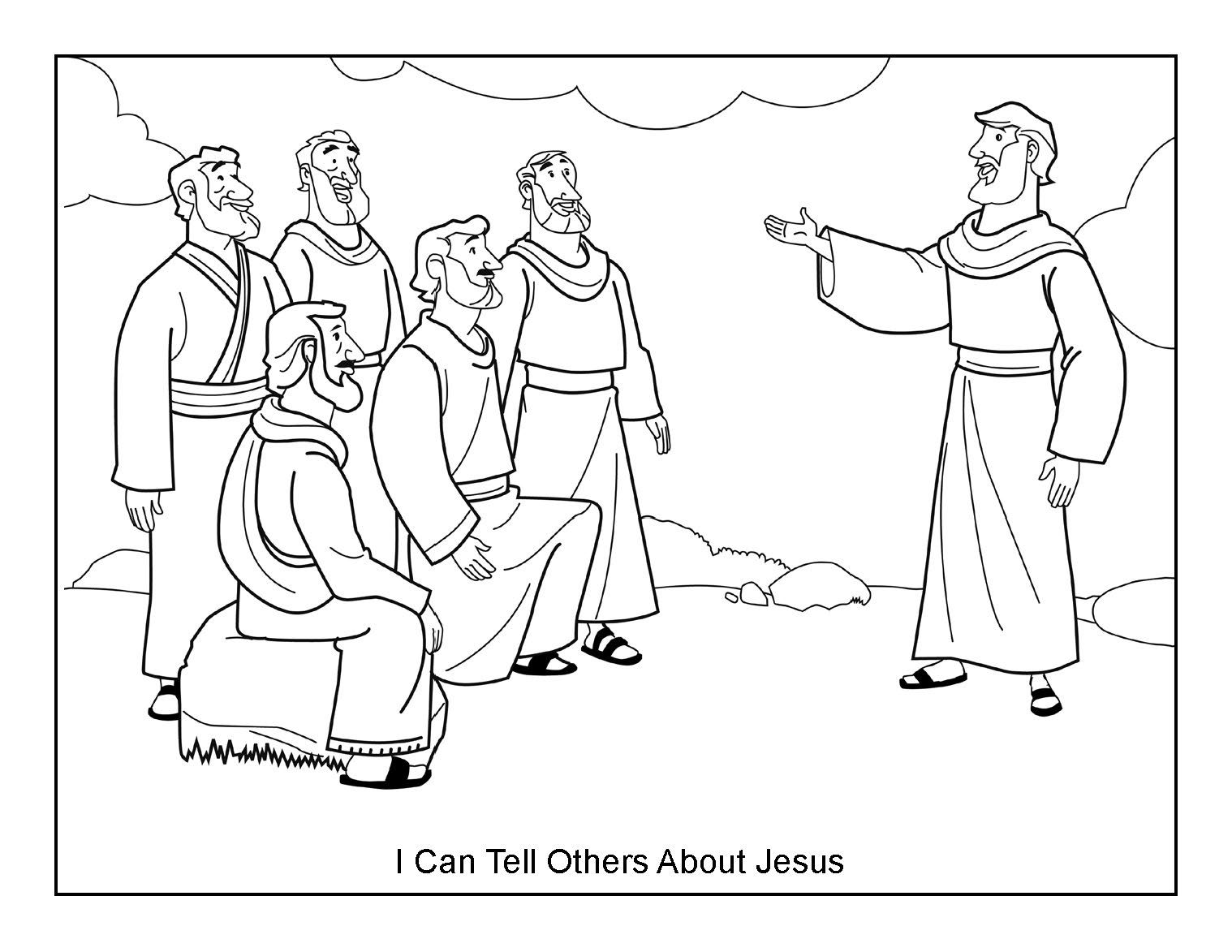 I Can Tell Others About Jesus Coloring Page on Sunday School Zone ...