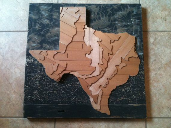 Recycled State A Recycled Topographic Texas State Map That I Made Https Www Etsy Com Listing 119223887 Recycled State Map Art Texas State Map Recycling