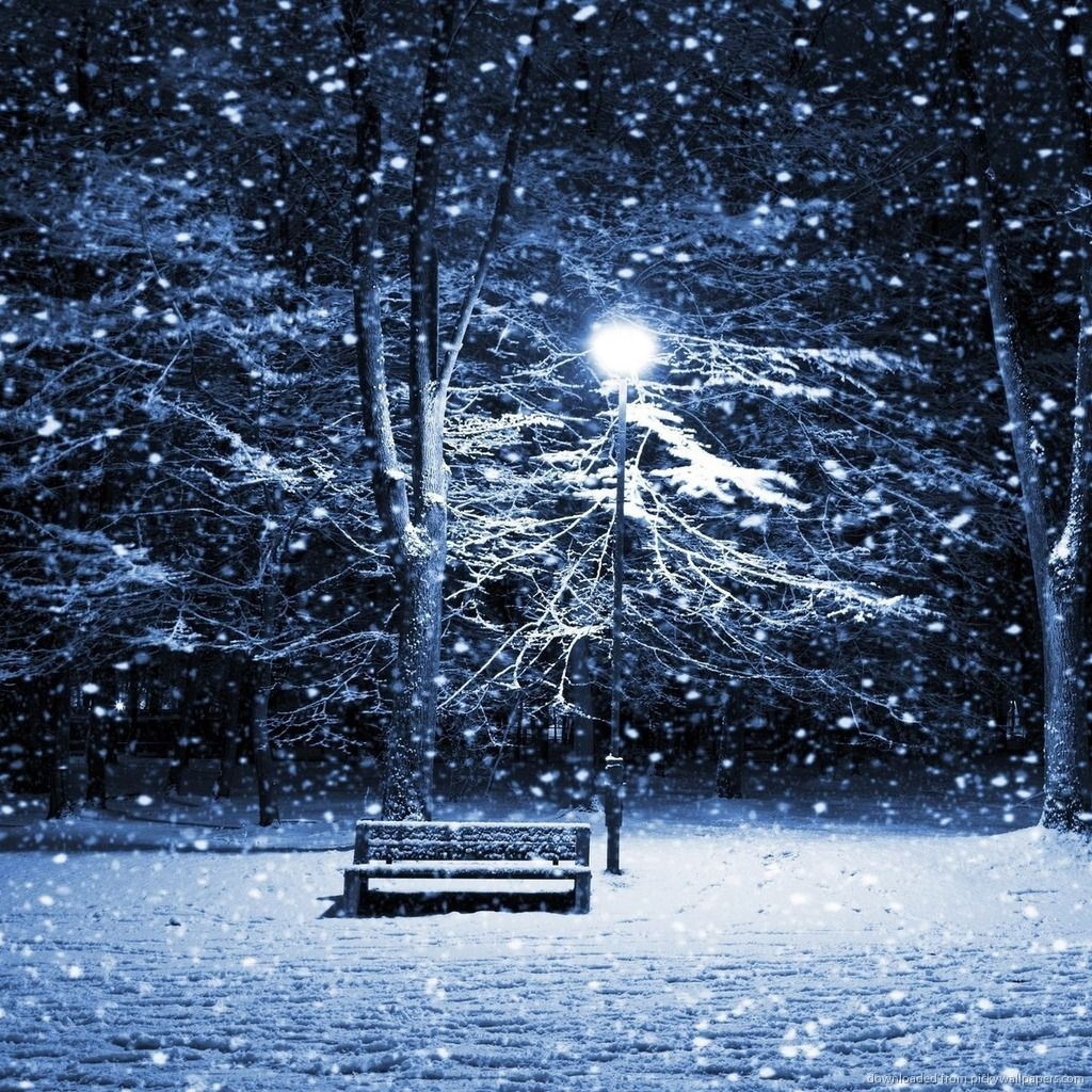 winter street with bench on a cold snowy night winter