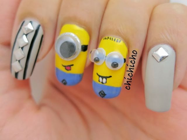 Minions with Googly Eyes Nail Art (With images) | Eye nail ...