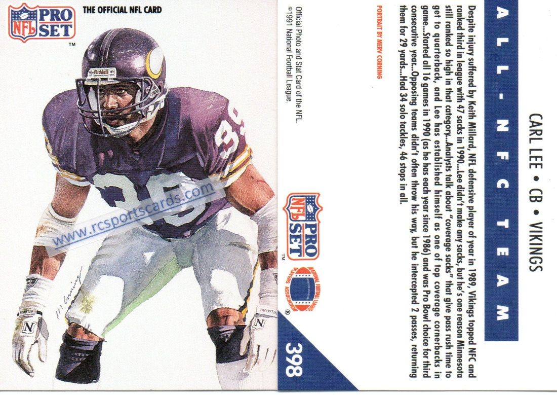 1990 & 1991 Vikings Football Trading cards at Low prices