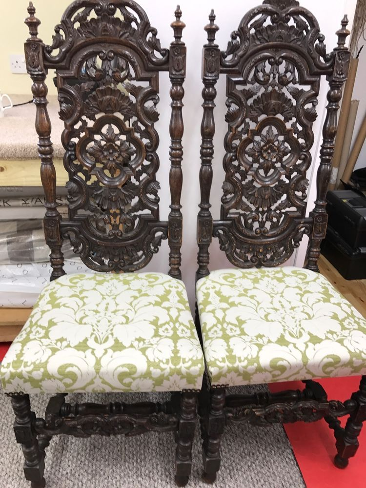Fabulous Pair Of Victorian Jacobean Style Hall Chairs #Victorian #DiningChairs
