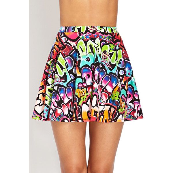 Forever 21 Graffiti Girl Skater Skirt ($6.99) ❤ liked on Polyvore featuring skirts, elastic waist skirt, forever 21, skater skirt, forever 21 skirts and circle skirt